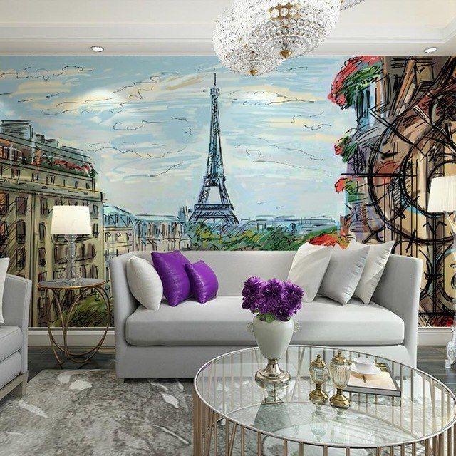 Hiasan Ruang Tamu Rumah Terbaik Menara Eiffel Minyak Lukisan Dinding Kertas Lukisan Dinding Dekorasi