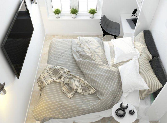 """Dalam reka bentuk pangsapuri kecil kaedah seperti """"lantai percuma"""" digunakan secara meluas untuk mengembangkan Picture Susun atur pangsapuri 2 bilik"""