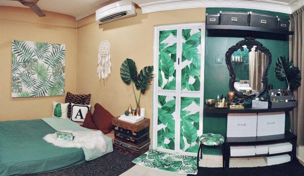 Susun atur Menarik Dalam Rumah Berguna Inspirasi Bilik Tidur Tema Tropikal Hijau Gelap & Diy Aiman Ariff