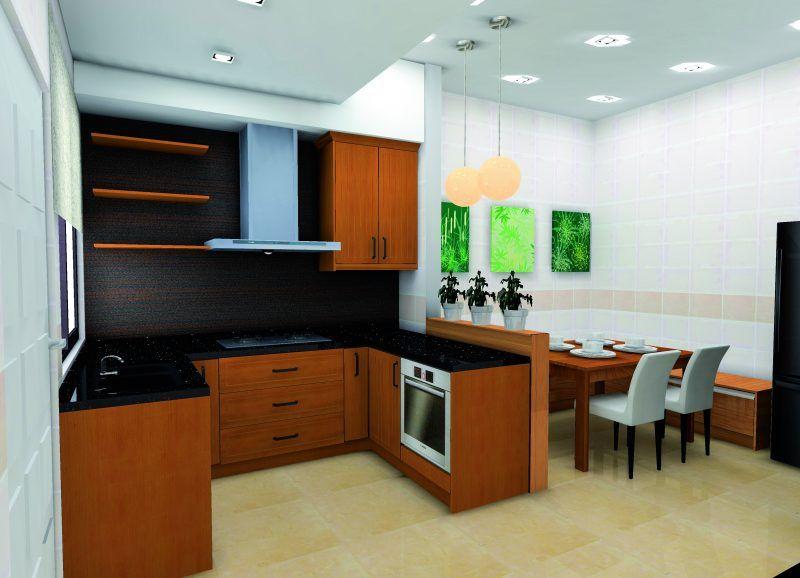 Ruang dapur kecil ini tidak pernah gagal menarik perhatian sesiapa sahaja yang melangkah masuk ke kediaman teres superlink ini Palitan warna jingga yang