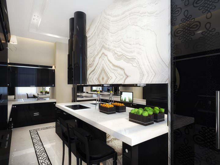 Vinyl sudut jubin berkilat untuk kedua dua lantai dan dinding adalah klasik untuk dapur hitam dan putih Jubin sudut vinil yang kukuh tahan lama dan