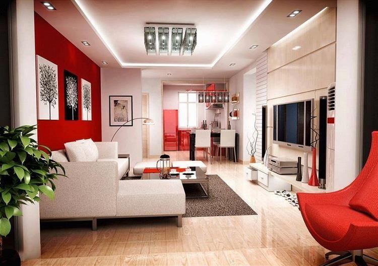VIEW IN GALLERY Model ruang tamu minimalis dengan gabungan warna merah putih